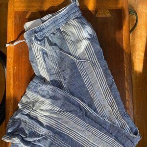 NWT Wide Leg Linen Striped Pants